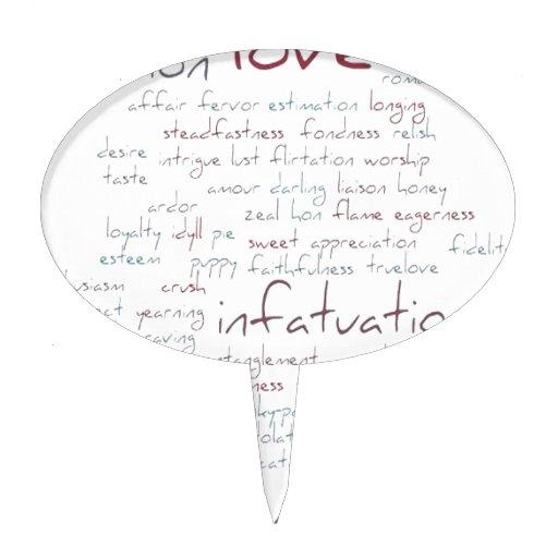 Valentine Love Word Cloud Cake Topper