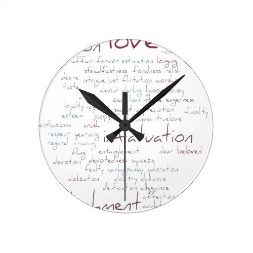 Valentine Love Word Cloud Round Wall Clocks