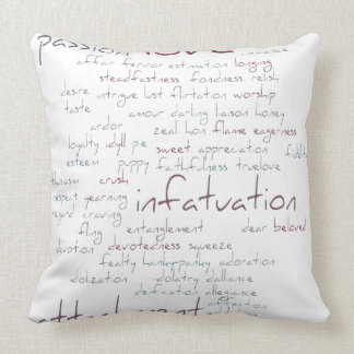 Valentine Love Word Cloud Throw Pillow