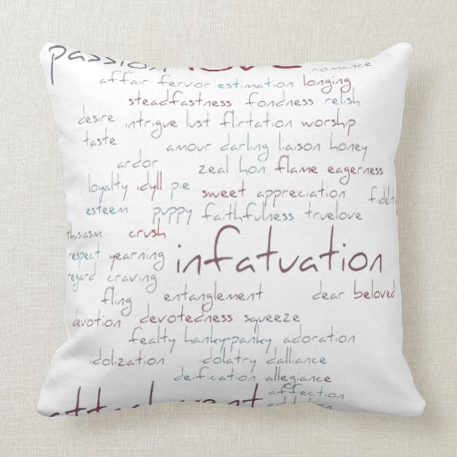 Valentine Love Word Cloud Throw Pillow