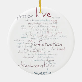 Valentine Love Word Cloud Christmas Ornaments