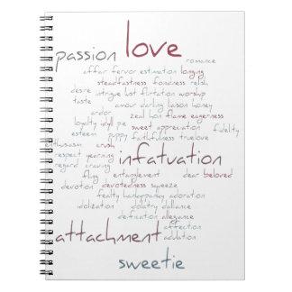Valentine Love Word Cloud Spiral Notebooks