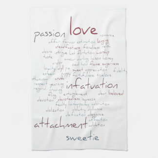 Valentine Love Word Cloud Hand Towels