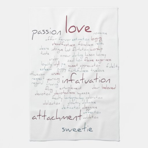 Valentine Love Word Cloud Hand Towels