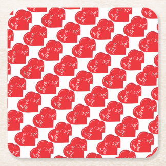 -Valentine-Love you 2- Red Hearts Square Paper Coaster