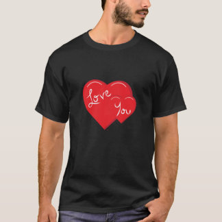 -Valentine-Love you 2- Red Hearts T-Shirt