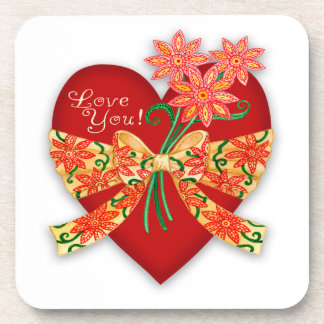 "Valentine ""Love you"" Red Heart with Bow Drink Coasters"