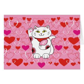 Valentine Maneki Neko Lucky Cat Card