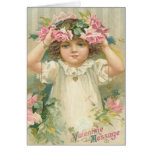 Valentine Message Girl With Flowers Cards, Gifts