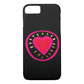 Valentine Modern Black Pink Heart iPhone case