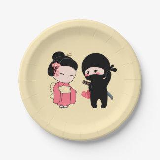 Valentine Ninja and Geisha on Yellow Paper Plate