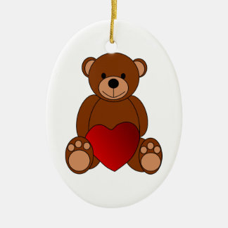 Valentine Ornament of Teddy Bear Holding a Heart