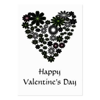 Valentine Pack Elegant Black Flowers Heart Large Business Cards (Pack Of 100)