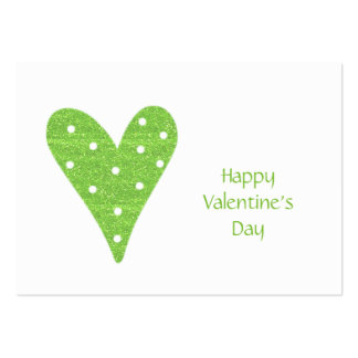 Valentine Pack Lime Green Polka Dot Heart Pack Of Chubby Business Cards