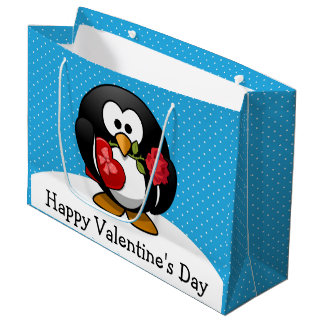 Valentine Penguin with Chocolate and Roses Large Gift Bag