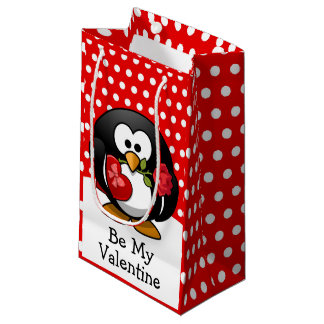 Valentine Penguin with Chocolate and Roses Small Gift Bag