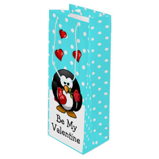 Valentine Penguin with Chocolate and Roses Wine Gift Bag