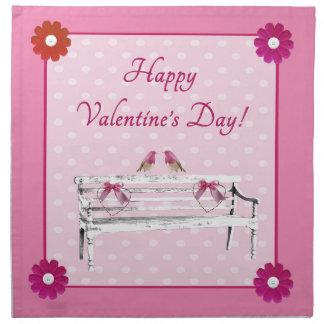 Valentine, Pink and White Birds on Bench, Heart Napkin