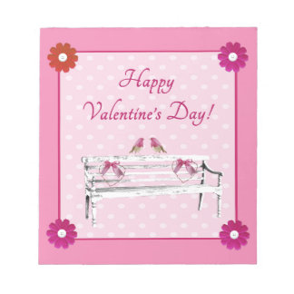Valentine, Pink and White Birds on Bench, Heart Notepad