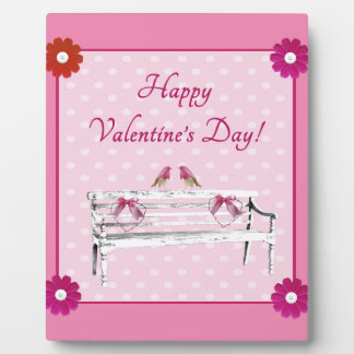 Valentine, Pink and White Birds on Bench, Heart Plaque