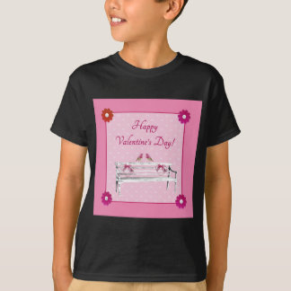Valentine, Pink and White Birds on Bench, Heart T-Shirt