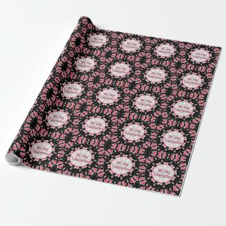 Valentine Pink Hearts Mandala Black Wrapping Paper