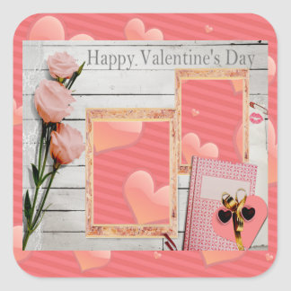 Valentine, Pink Roses, Heart Add Your Photos Square Sticker