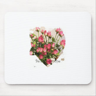 Valentine pink roses & sweet heart mouse pad