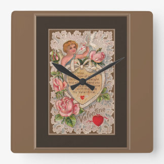 Valentine Poem With Lace Square Wall Clock