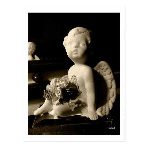 Valentine Putto (Cherub) in sepia postcard