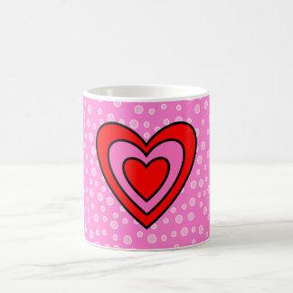 Valentine Red and Pink Heart Basic White Mug