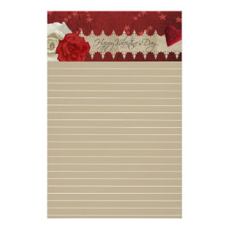 Valentine Red and White Rose Lined Stationary Stationery