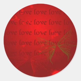 Valentine Red Hearts Classic Round Sticker