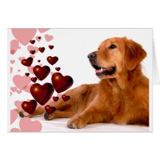 Valentine Red Hearts Golden Retriever Dog Card