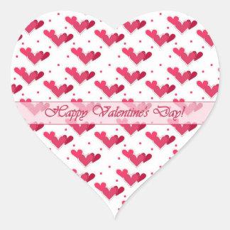 Valentine Red Hearts on White Heart Sticker