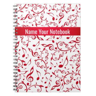 Valentine Red Music Notes Pattern Notebook