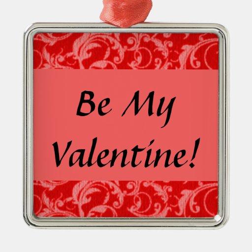 Valentine Retro Vintage Swirls Red Ornament