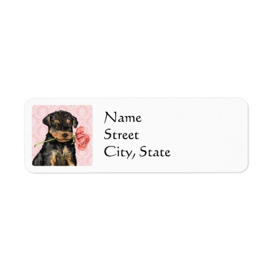 Valentine Rose Airedale Return Address Label