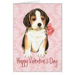 Valentine Rose Beagle Greeting Card