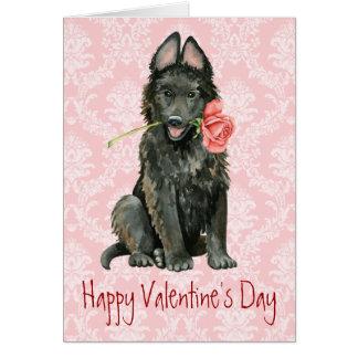 Valentine Rose Belgian Sheepdog Card