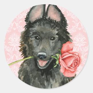 Valentine Rose Belgian Sheepdog Classic Round Sticker