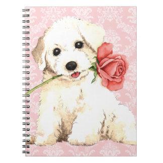 Valentine Rose Bichon Spiral Notebook