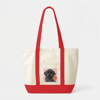 Valentine Rose Black Lab Tote Bag