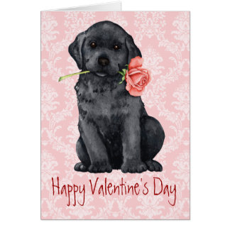 Valentine Rose Black Lab Card