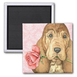 Valentine Rose Bloodhound Magnet