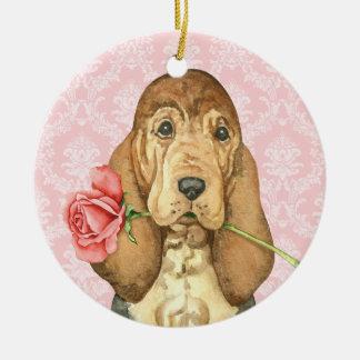Valentine Rose Bloodhound Round Ceramic Decoration