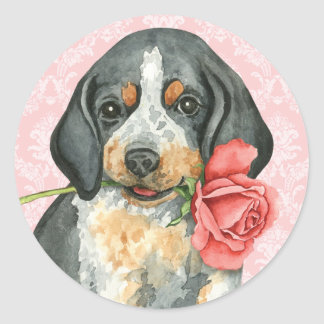 Valentine Rose Bluetick Classic Round Sticker