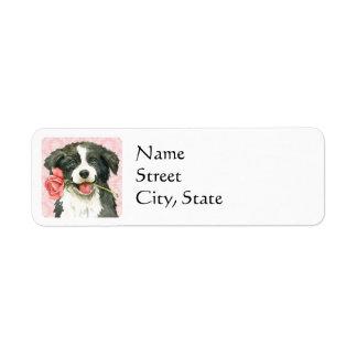 Valentine Rose Border Collie Return Address Label