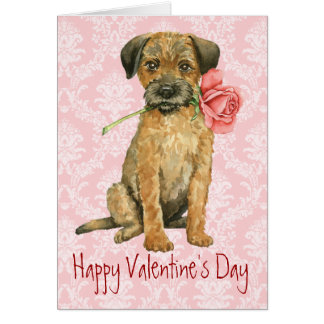 Valentine Rose Border Terrier Card
