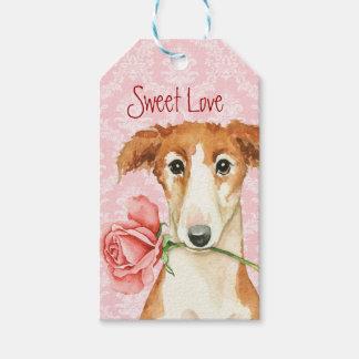 Valentine Rose Borzoi Gift Tags